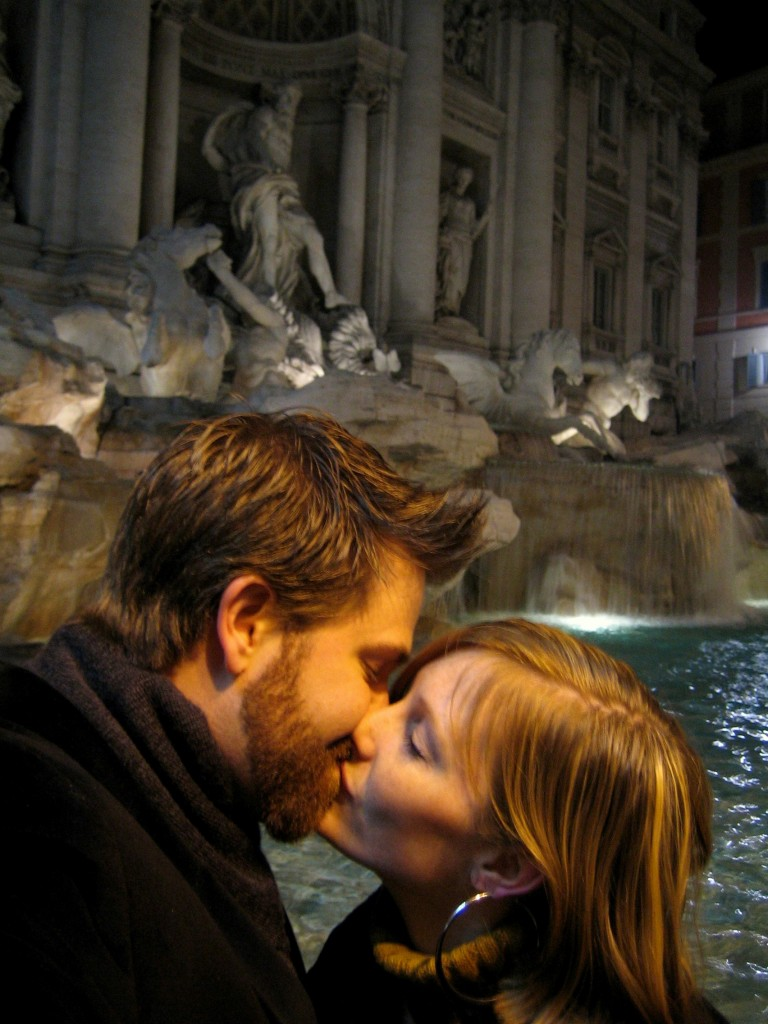 Kissing by the Trevi Fountain