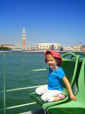 Natalie on the ferry through Venice