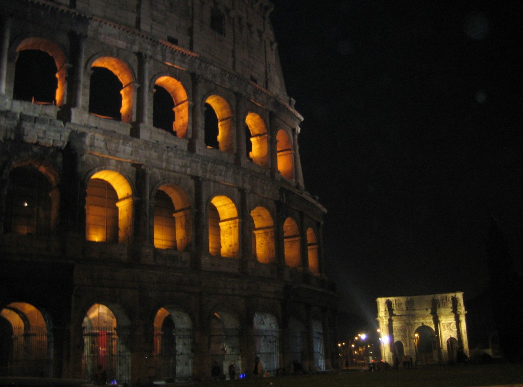 Colosseum and Constantine's Arch by night