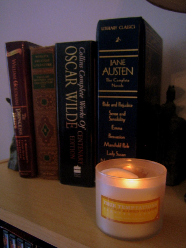 Mashed potato candle and books