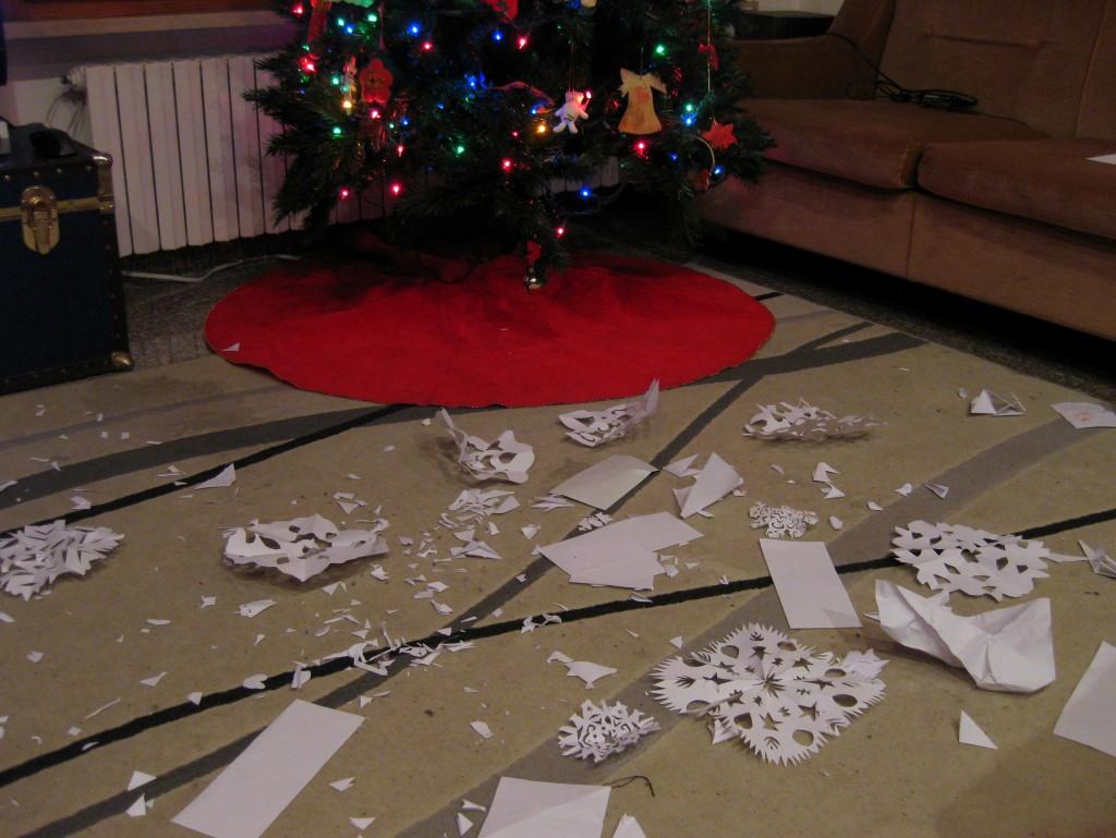 Snowflake-strewn living room