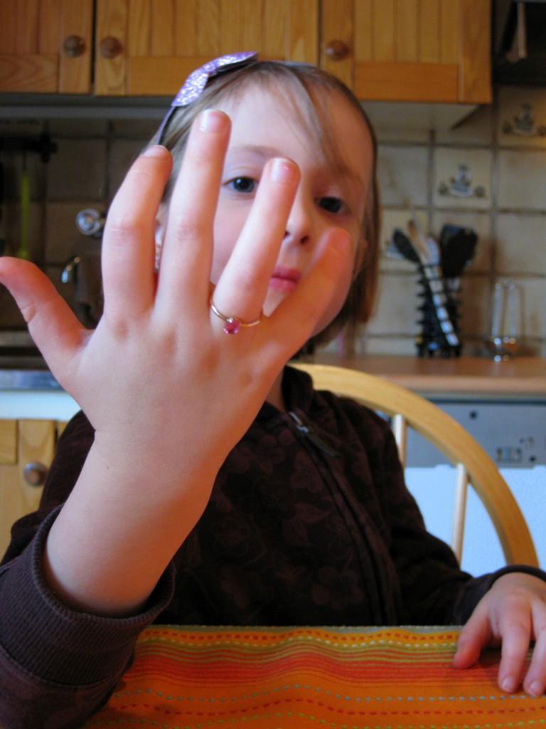 Natalie modeling Mommy's ring
