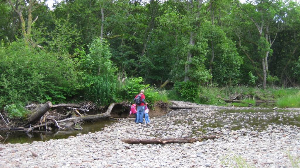 Daddy wrangling the girls across the river while Mommy snaps photos