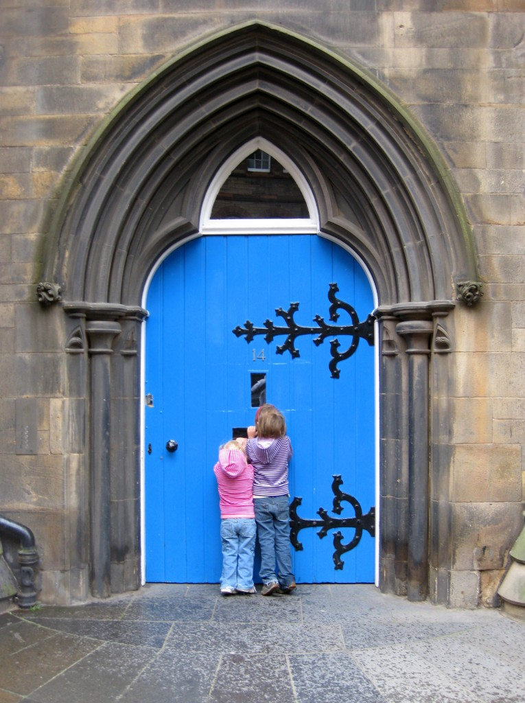 The girls loved all the brightly-colored church doors