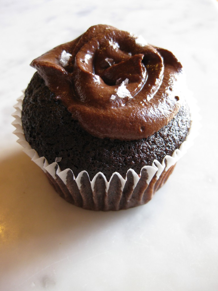 Dark chocolate salted caramel cupcake