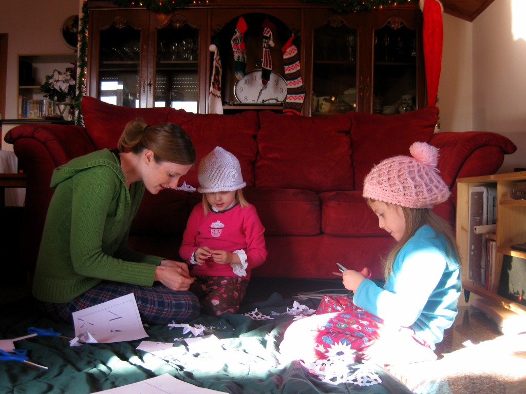 Cutting out snowflakes